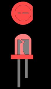 LED mit Anode und Kathode (Draufsicht oben, Vorderansicht unten)