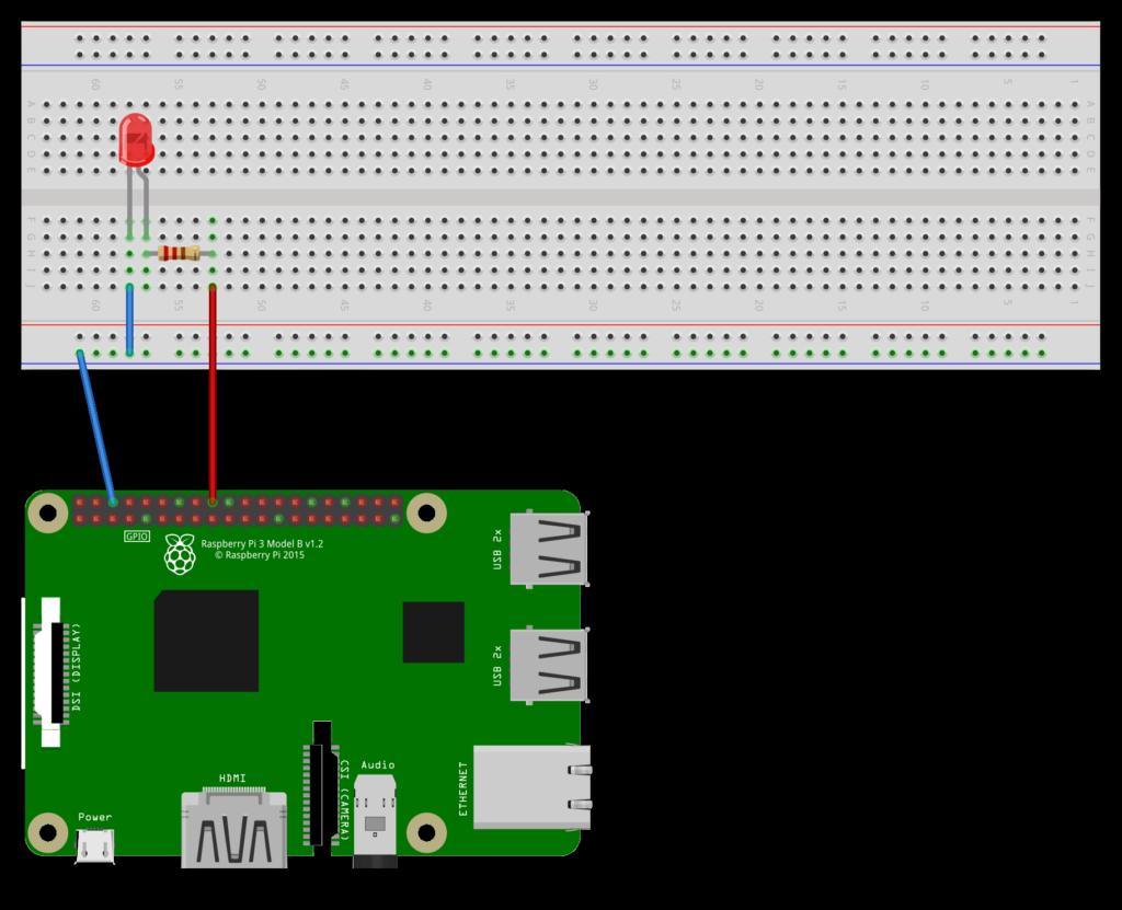 Raspberry Pi 3 mit LED und Vorwiderstand